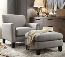 Gray Furniture Accent Chair and/or Ottoman Set Grey Living Room Fabric Chairs