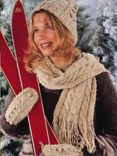 Womens Ladies Woolly Thick Knit Hat and Scarf Set Knitted Woollen BROWN