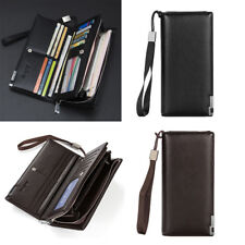 PU Leather Men Wallet Bifold ID Card Holder Purse Checkbook Long Clutch Billfold
