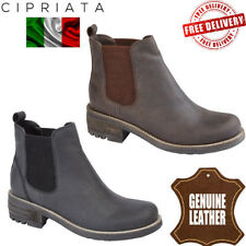 Cipriata Tasha Ladies Twin Gusset Shoes Womens Waxy Leather Chelsea Ankle Boots