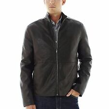 Claiborne Mens Jacket Faux Leather Black Solid Zip Front Lined size XL NEW