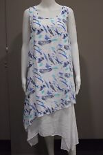 Missy Q by FILO Feather Print Double Layer Tunic Dress Size 10 12 14 16 18 20