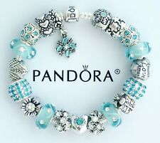 Authentic Pandora Silver Charm Bracelet with Aqua Blue Heart European Charms