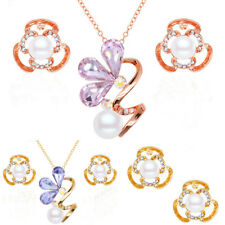 Jewelry Pearl Rhinestone Clover Flower Earrings Necklace Set Fashion Charming
