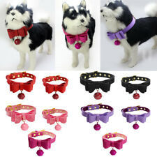 Adjustable PU Leather Bowknot Puppy Collar Dog Cat Collar Neck Strap with Bell