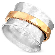 Spinner Sterling Silver Ring 925 Solid Two Tone Handmade Wide Band Unique Size