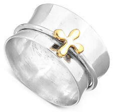 Spinner Sterling Silver Ring 925 Solid Two Tone Handmade Flower Wide Band  Size