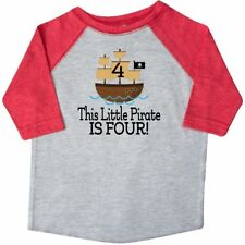 Inktastic 4th Birthday Pirate Ship Party Toddler T-Shirt Boys Cute Im 4 Four Old