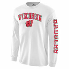 Wisconsin Badgers White Distressed Arch Over Logo Long Sleeve Hit T-Shirt
