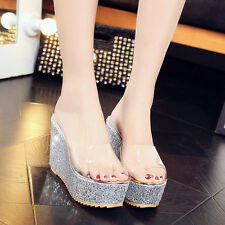 Fashion Women Summer Platform Wedges Sandals High Heels Fish mouth Shoes