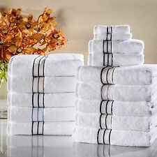 Bath Towel Set Color Borders 6pc 900 gsm Linen Egyptian Cotton Towels Washcloths