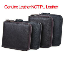 Men Women Genuine Cow Leather Zipper Closure Wallet Small Coin Card Holder Purse