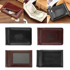 Mens Slim PU Leather Bifold ID Credit Card Wallet with Removable Money Clip