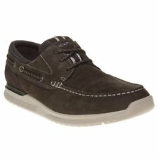 New Mens Rockport Brown Langdon 3 Eye Nubuck Shoes Boat Lace Up