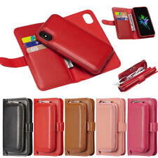 Flip Cards Leather Pouch Case Cover Magnetic Removable For iPhone X 8 7 6S Plus