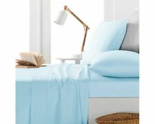 3 PCs Zipper Duvet set Light Blue Solid 1000 TC - 100% Egyptian Cotton UK Sizes