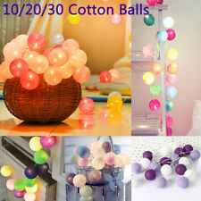 10/20/30 Balls LED Cotton Ball String Light 18 Color Battery Operated Decoration