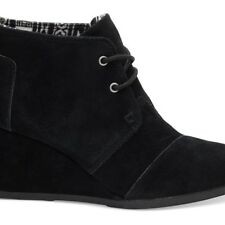 NEW TOMS WOMENS BLACK SUEDE WOMEN'S DESERT WEDGES