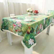 Green Color Home Party Cotton Linen Material With Lace Table Cloth