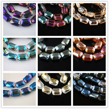 Pretty Glass Crystal Faceted Rectangle Bead Loose Spacer Finding 18x12mm Charms