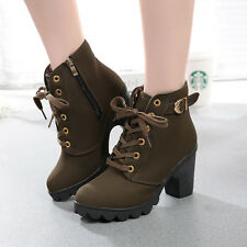 Ladies Party Platform Buckle Shoes Womens Fashion  Lace Up High Heel Ankle Boot