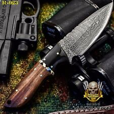 HAND MADE BY ALONZO KNIVES USA CUSTOM DAMASCUS SKINNER KNIFE ROSE WOOD HANDLE923