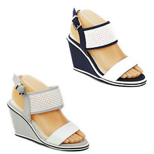 WOMENS LADIES STRAPPY WEDGE HEEL CUT OUT SLINGBACK SANDALS SHOES SIZE 3-8