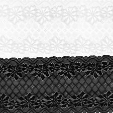5 Yards 24cm Stretch Lace Ribbon Floral Trim Sewing Clothing Crafts Accessories