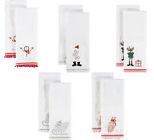 2Pk of Christmas Hand Towels embroidered Design Reindeer Snowman 100% Cotton