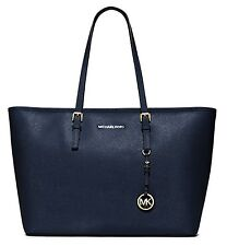 NEW MICHAEL Michael Kors Jet Set Travel Medium Metallic Saffiano Leather Tote