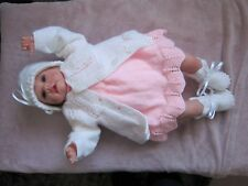 """HAND KNITTED PINK & WHITE SET TO FIT A 22"""" REBORN/BABY DOLL"""