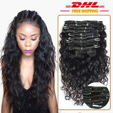 Peruvian body wave clip in human hair extensions,1B clip on hair 9 pieces/100g