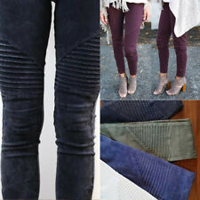 Fashion Women's Casual Trousers Pleated Slim Skinny Leggings Tight Pencil Pants