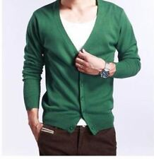 Men Green Color V Neck Button Closure Large Size Cardigan Sweater R372