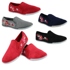 WOMENS LADIES CASUAL FLAT SLIP ON FLORAL PLIMSOLLS PUMPS TRAINERS SHOES SIZE 3-8