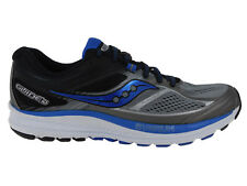NEW MENS SAUCONY GUIDE 10 RUNNING SHOES TRAINERS GREY / BLACK / BLUE 2E-WIDE