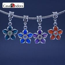 4 Colors Silver-colored Five Leaf Clover Shape Charm