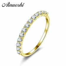 10K Yellow Solid Gold Ring Simulated Diamond