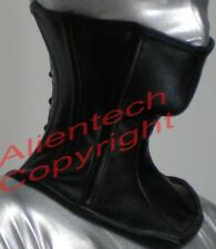 Black Real Leather Over Mouth Neck Corset Posture Collar