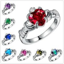 925 Sterling Silver CZ Celtic Claddagh Promise Love Friendship Ring Sizes 6-9