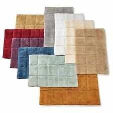 Set of 2 Checkered Bathroom Rugs in Colors 2 Sizes Plush Cotton Luxury Bath Mat