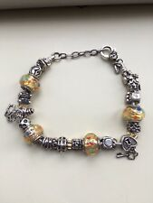NEW 925 STERLING SILVER CHARM BRACELET - 99p START - NO RESERVE - 42.6g - 8 1/2""