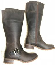 TIMBERLAND WOMEN'S BETHEL TALL BROWN SIDE ZIPPER LEATHER BOOTS RETAIL $240 6906B