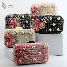 Fashion Evening Party Handbag Clutch Wallet Shoulder Bag Prom Pearl Flower purse