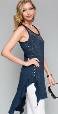 nwt VOCAL western SHIRT TANK TUNIC DRESS Vintage S M L XL navy LACE stones SEXY