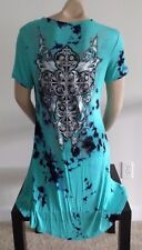 Vocal Plus Tie Dye Vintage Crystal Cross Tattoo Hi Lo Tunic T Shirt Dress Top