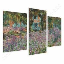 CANVAS (Rolled) Irises In Monets Garden Claude Monet 3 Panels Wall Art Pictures