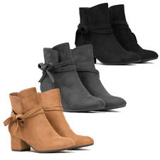 WOMENS LADIES CUBAN HEEL BOW DETAILS CHELSEA STYLE ANKLE BOOTS SHOES SIZE 3-8