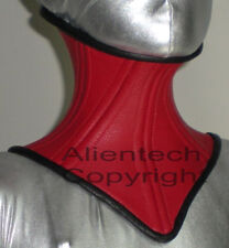 Real Cow Leather Under Chin Neck Corset Posture Collar  Red S-XL