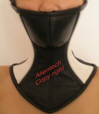 Black and White Real Leather Over Mouth Neck Corset Posture Collar